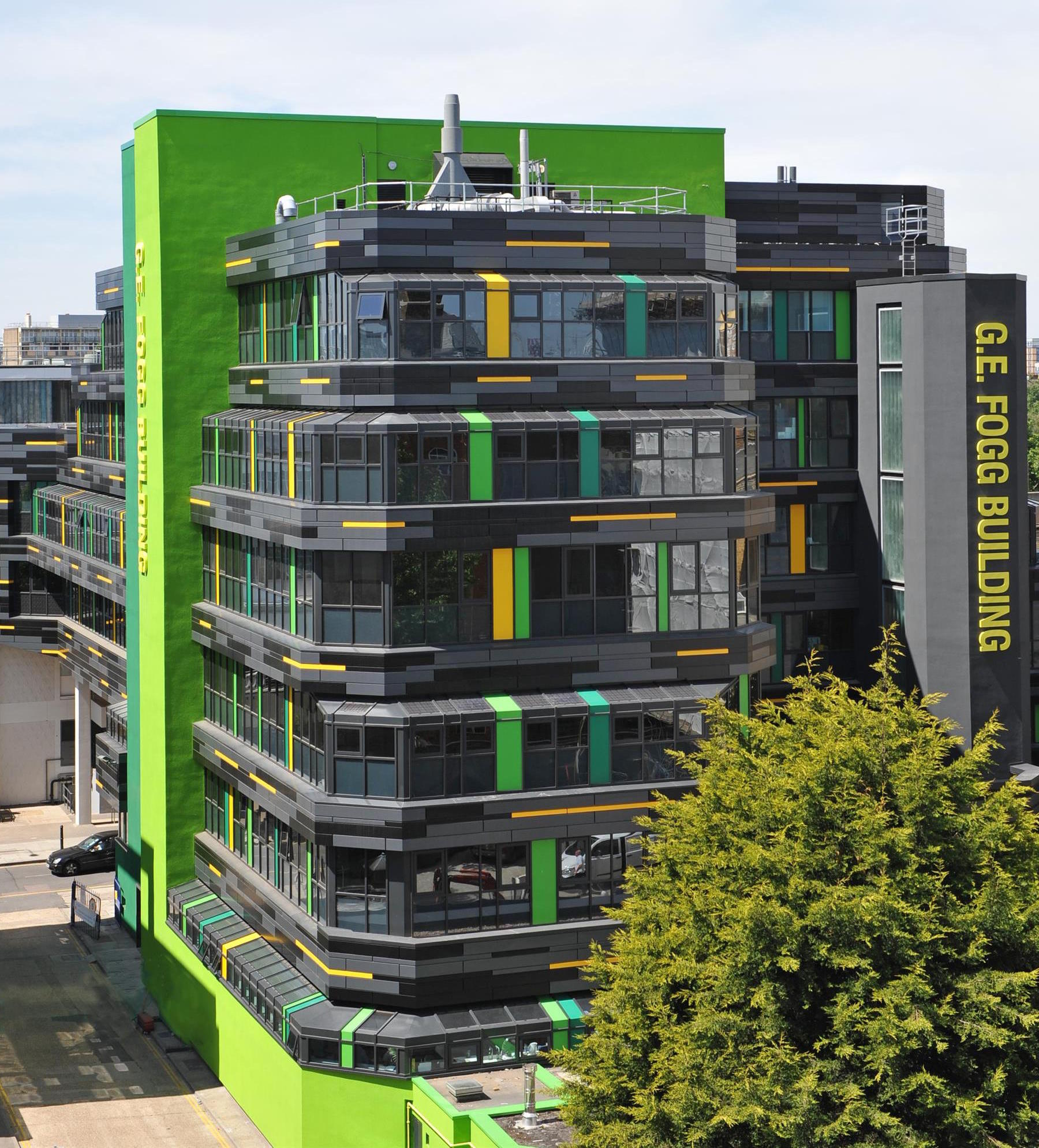 Aerial view of QMUL Fogg Building
